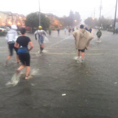 Running through flooded roads.