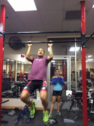 Ellie doing pullups